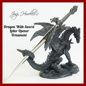 DRAGON With SWORD Decorative Ornament LETTER OPENER Fantasy Myth Figurine