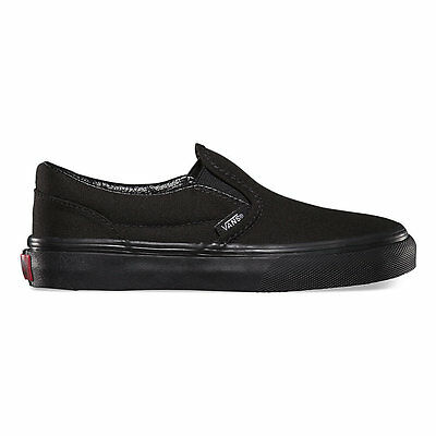 VANS Classic Slip On Black/Black Shoes Kids Youths Boys Sneakers Free - Kids Vans Shoes