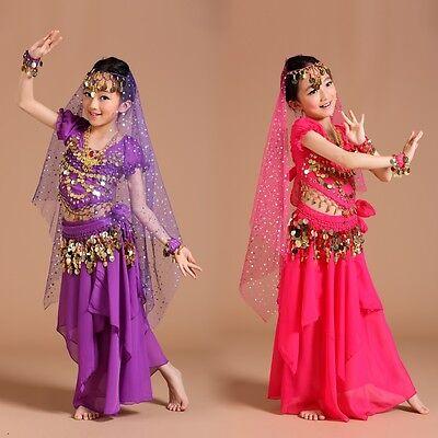 ADN02# Kinder Mädchen Bauchtanz Kostüm (Oberteil, Rock...) 6 Farben 3 Größen