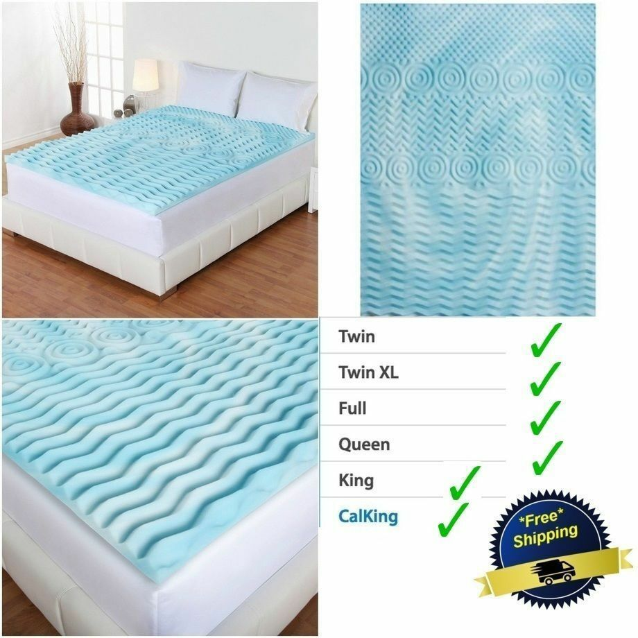 king mattress topper - 3 inch cooling gel foam mattress topper pad bed  cushion 5 zone orthopedic firm