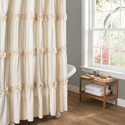 Shower Curtain Ivory Cream Glamorous Ruched Flowers Floral Design Polyester 72x72