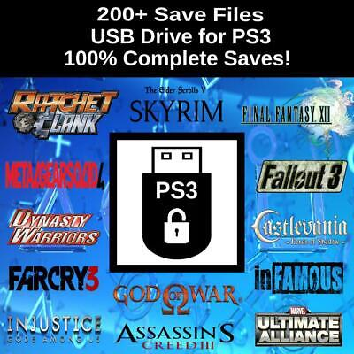 Unlocked PlayStation 3 USB Drive | 200+ Save Files | Complete PS3 Saves!