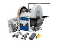 Tormek T8 sharpener and accessories with Rotating base, knife jig and protective cover