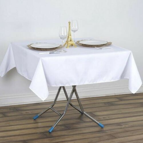 Polyester Square Tablecloth 52x52 Inch White Color