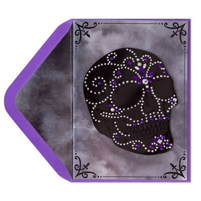 Papyrus Happy Halloween Shimmers Gems Gemmed Sugar Skull Halloween Card (Happy Halloween Skull)