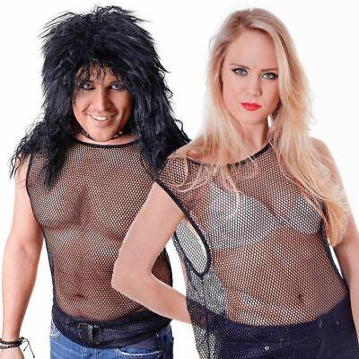 80s Schwarz Saiten Netz Weste Top 1980s Punk Rock Unisex Kostüm - 1980's Punk Rock Kostüm