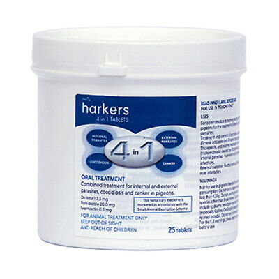 Harkers 4 in 1 Tablets  - Treatment for canker worms coccidiosis Racing Pigeons