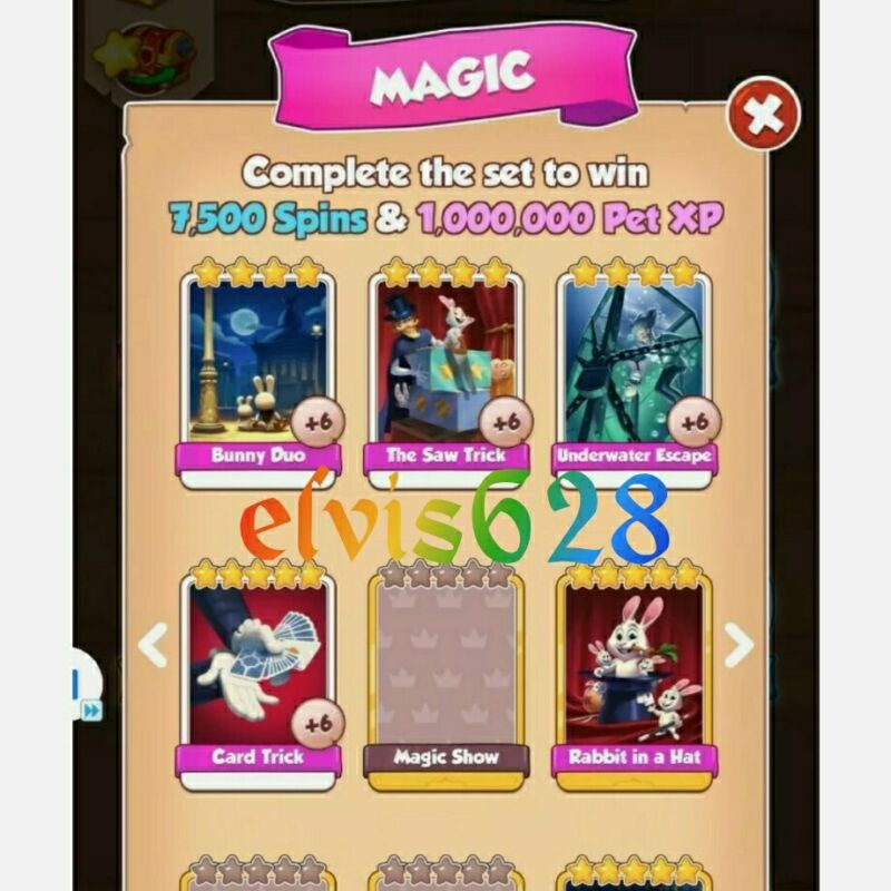 Magic - (FULL Set - White Cards) NEW - Coin Master - Immediate Delivery