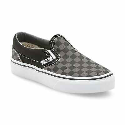 Vans Classic Slip On (Checkerboard) Black Pewter Kids Skate Shoes Pewter Kids Shoes