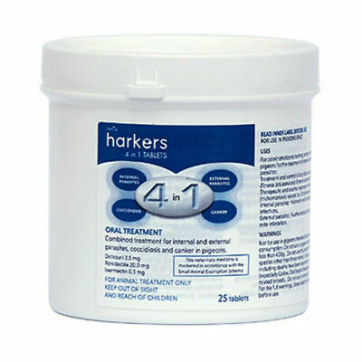 Harkers 4 in 1 Tablets Treatment for canker worms coccidiosis Racing Pigeons