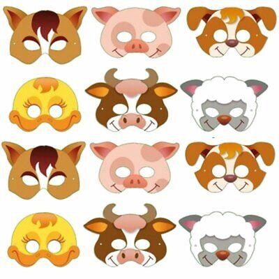 12 Card Farm Animal Face Masks - Colourful Childrens Masks Party Bag Fillers