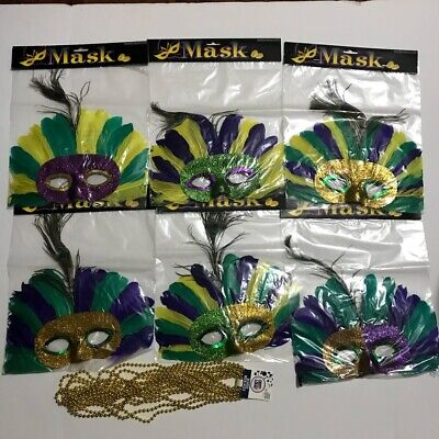 6 Feather Mardi Gras Masks Costume Party Masquarade With A Set of 8 Gold Beads ](Masquarade Costumes)