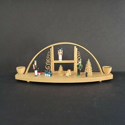 Seiffen Schwibbogen Wood Christmas Window Arch Candle Holder Hand Germany ()