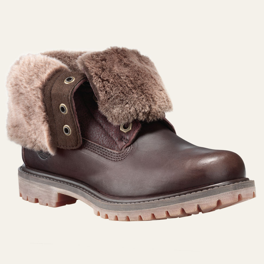 Women's Timberland AUTHENTICS SHEARLING FOLD-DOWN BOOTS, Dark Brown Sizes 6.5-10 1