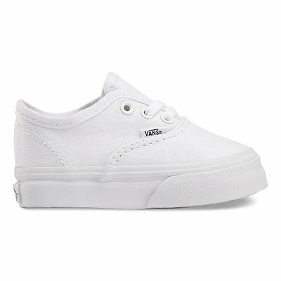 VANS Toddlers Authentic Canvas True White  VN-0ED9WOO All Sizes 4-10 Free Ship - White Vans Toddler