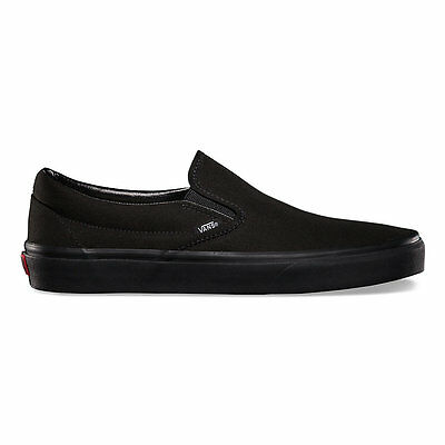 (Vans Slip-On Black/Black Canvas Classic Shoes All Size Fast Shipping)