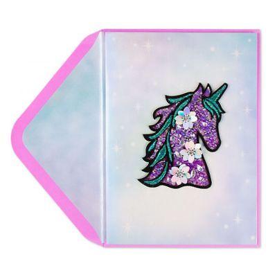 Unicorn Birthday Card - PAPYRUS  Dazzling Unicorn Patch Birthday Card Retail $9.95 (Amazing)