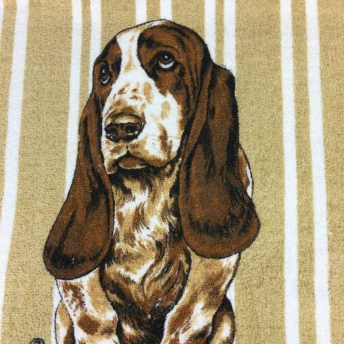 Vintage Basset Hound Bath Towel Hush Puppies Fringe