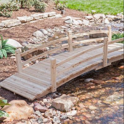 Wood Garden Bridge 12 Foot Wooden Walkway Unfinished Outdoor Creek Path Backyard