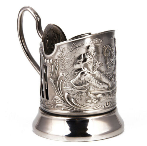 Nickel Plated Tea Glass Holder with Hunters.Russian Podstakannik Подстаканник