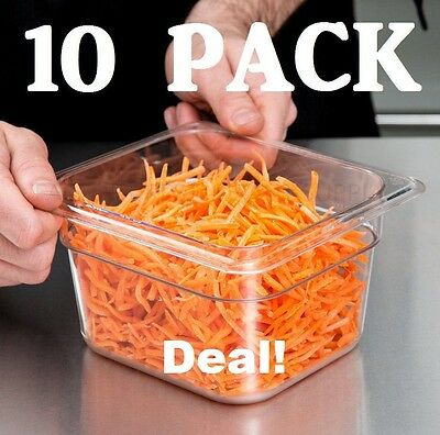 10 Pack 16 Size Clear Plastic Steam Prep Table Food Pan 4 Deep Polycarbonate