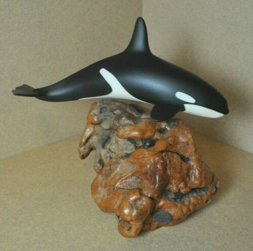 JOHN PERRY Orca Killer Whale Sculpture *Resin & Burled Wood