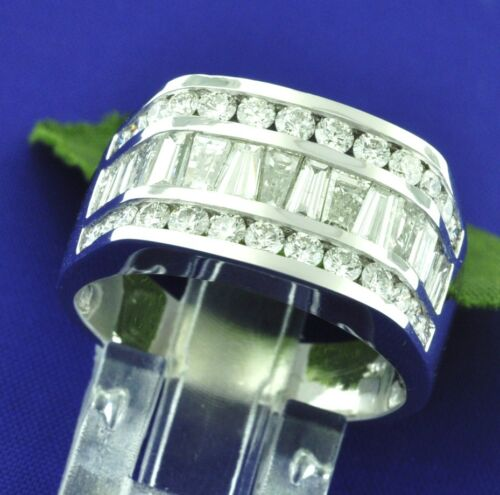2.60 Ct 14k Solid White Gold Mens Natural Diamond Ring Baguette Channel Set