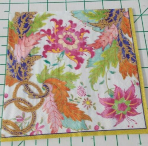 """Two Decorative Luncheon Napkins for Decoupage """"Tobacco Leaf"""" in Ivory"""