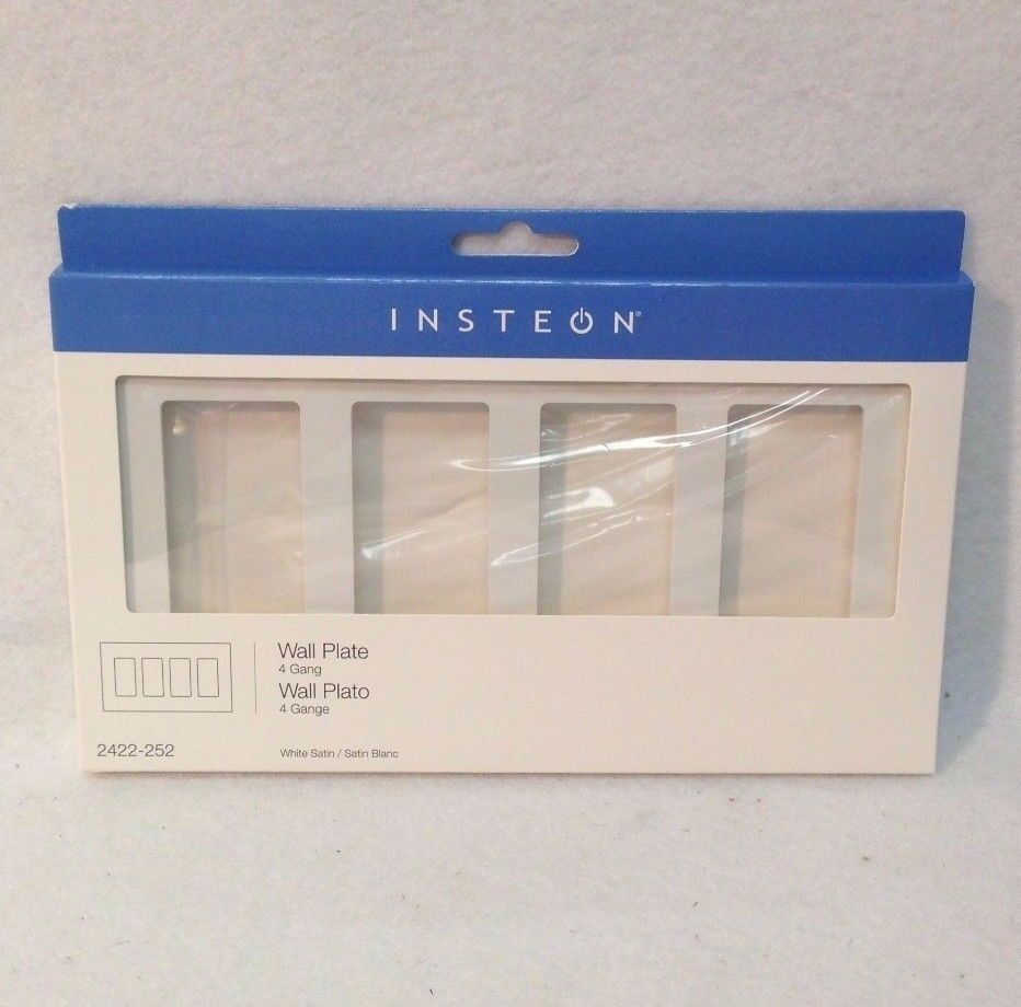 INSTEON 2422-252 Screwless Wall Plate, 4 Gang, White - New I