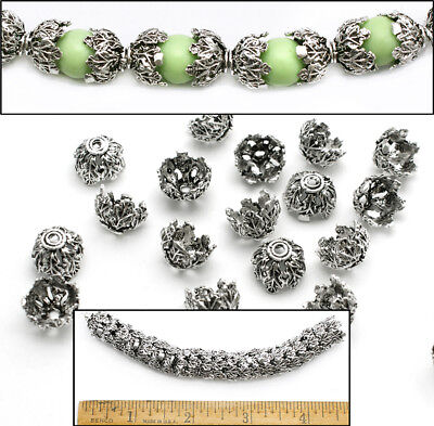 LG 12mm Silver Pl EXTRA FANCY Bali Style LEAVES LEAF Filigree Bead Caps 20pc