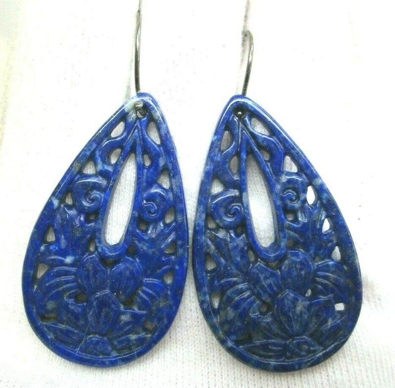 Vintage Sterling Silver Carved Lapis Dangle Earrings