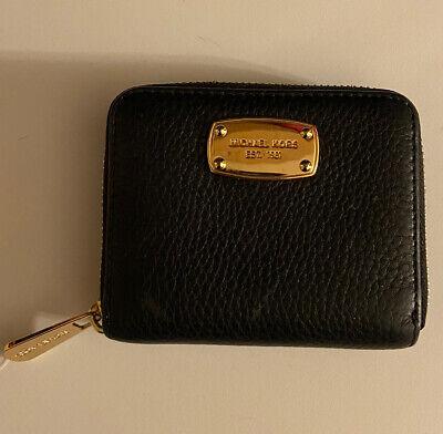 Michael Kors Jet Set Black Leather Zip Around Bifold Wallet