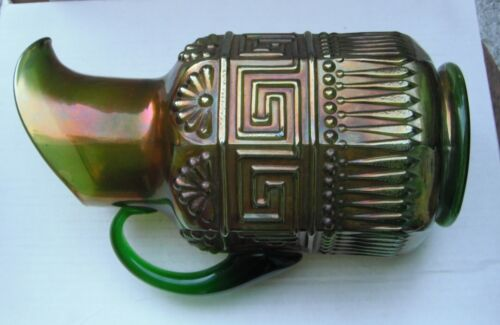 Greek Key Pitcher--Green color..591-dex..very pretty, but has some defects