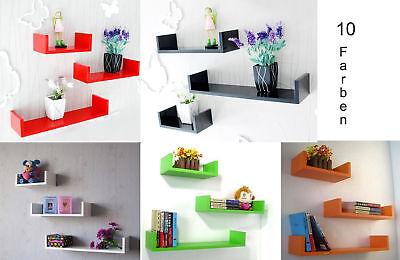 Wandregal 3er Set Design Bücher CD Regal verschiedene Farben NEU in 10 Farben ()