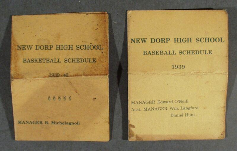 2 VINTAGE NEW DORP HIGH SCHOOL S.I. SCHEDULES 1939 BASEBALL 1939-40 BASKETBALL