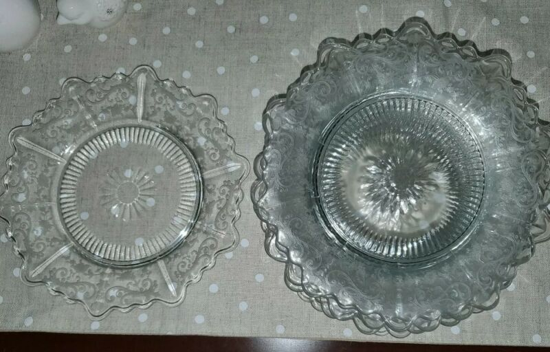 "3 Cambridge Chantilly Martha 8"" Salad Plates Clear Etch Elegant Glass Excellent"