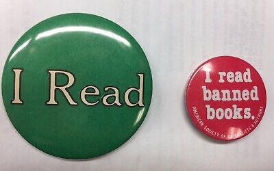 """Vintage Pin Pinback Badge 2 3//16/"""" 1984 /""""PIG OUT ON BOOKS/"""" Reading"""