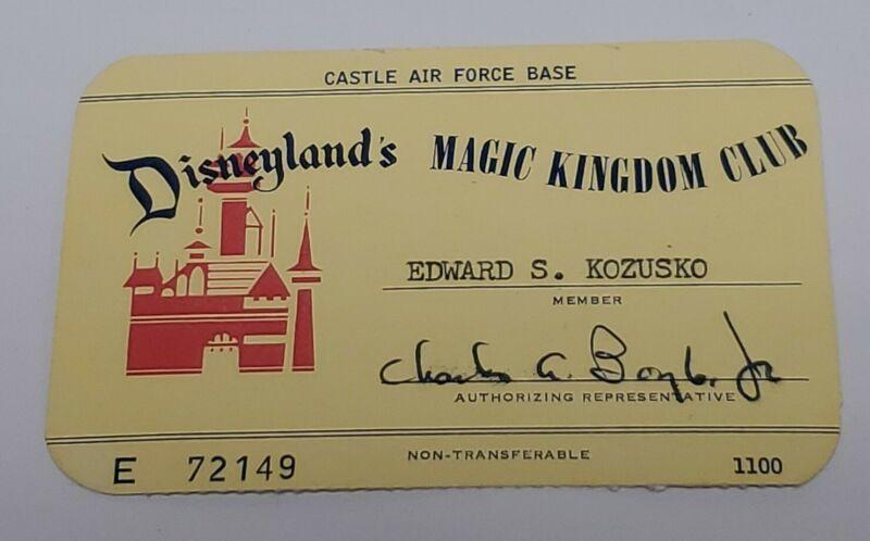 Disneyland Vintage 1962 Magic Kingdom Club Card Castle Air Force Base