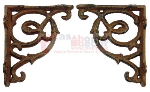 "2 Small Ornate Shelf Brackets Cast Iron Brace Antique Style Scrolls 4.5 x 3.75"""