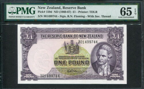 New Zealand 1960-1967, 1 Pound, P159d, PMG 65 EPQ GEM UNC