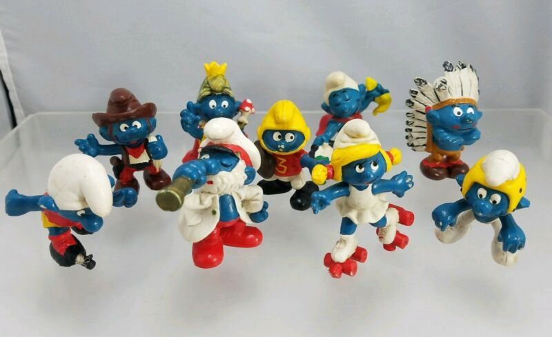 Smurf Vintage Schleich Peyo PVC Figure Lot of 9