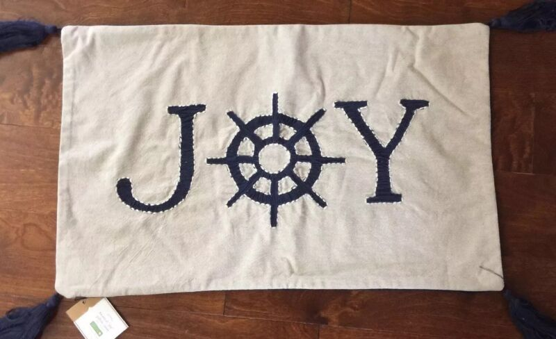 """Pottery Barn Nautical JOY Embroidered Pillow Cover 16 x 26"""" Rare - Sold Out"""