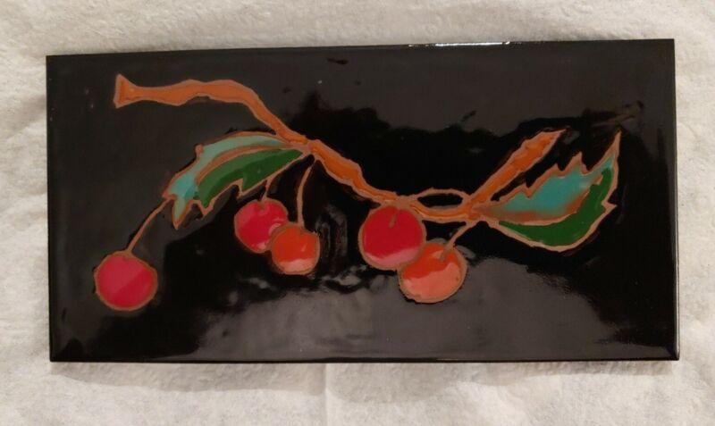Cherry Tree Branch Art Tile Elaine Cain Signed 8X4 Red Cherries on Black