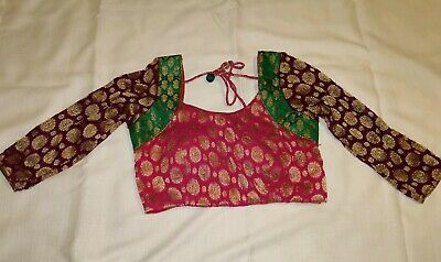 Designer ready made multi-color brocade Saree Blouse w/cups size 34 3/4 sleeves -