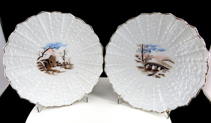 """ENGLISH PORCELAIN 2 PIECE EMBOSSED SHELL DESIGN SCENIC 7 1/2"""" SCALLOPED PLATES"""