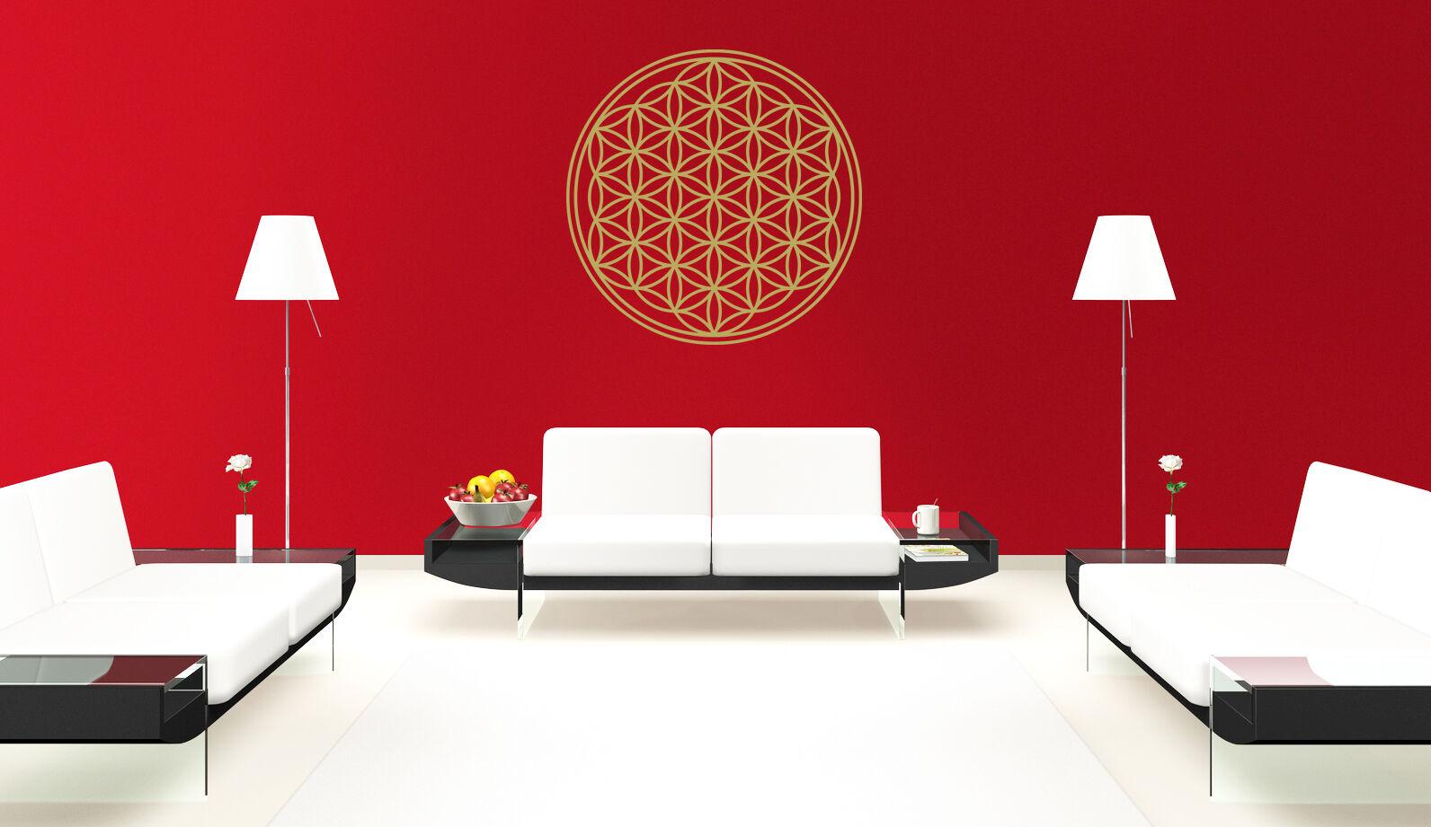 blume des lebens wandtattoo wandaufkleber spiritueller aufkleber flower of life eur 9 95. Black Bedroom Furniture Sets. Home Design Ideas