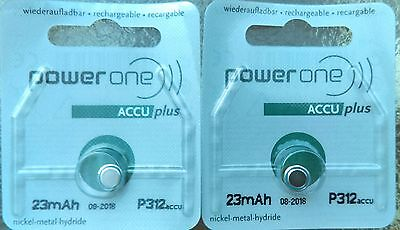 2  Power One Size 312 Rechargeable Hearing Aid Batteries  Made In Germany  2018