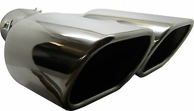 Universal Car Sports Square Exit Exhaust Tip Stainless Steel Trim Pipe Clip On