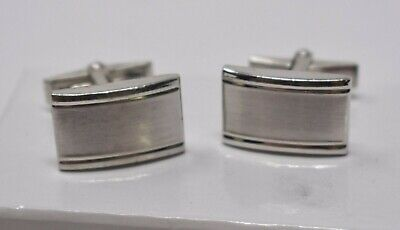 Dolan Bullock Sterling Silver Cufflinks, Rectangles, Rhodium Plated Lightly Used Plated Rectangle Cufflinks