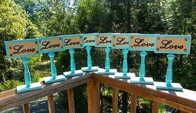 Wedding decor Love signs Tiffany blue metal and burlap - Tiffany Blue Decor